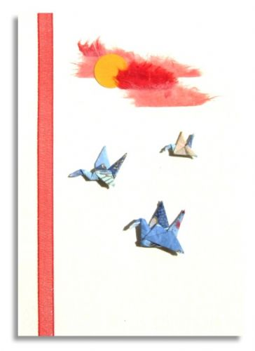 Greetings card Handmade - three origami Cranes in sunset sky on Japanese washi paper